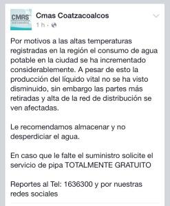 Comunicado de la CMAS publicado en su página de Facebook.