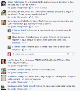 Los comentarios en la página de facebook de  costaveracruz.net por la falta de vital líquido.