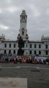 Se manifiestan en Veracruz puerto, campesinos exigen tierras.