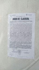Orden de clausura.