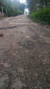 La carretera que va desde Malpasito hacia Amatán, semi-destruida.